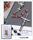 Wooden Communion Rosary Beads in Case with Prayer Leaflet - Brown or Black