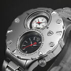SHARK Military 46mm Dual Time Army Stainless Steel Waterproof Men's Sport Watch