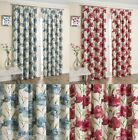 HENLEY THERMAL INTERLINED CURTAINS PENCIL PLEAT TOP VINTAGE PLAIN POPPY FLOWER