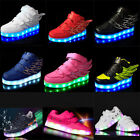 KIDS Boys' girls' LED Light Up Trainer Velcro Flat Sneaker Luminous Sports Shoes