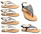 Womens Ladies Diamante T Bar Fashion Flat Summer Sandal Beach Shoe Party Size UK