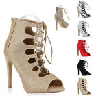 Damen Sandaletten Cut-outs High Heels Stilettos Schnürer 810826 New Look