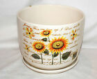 "New 7"" GOLDEN YELLOW SUNFLOWER FLOWERS WITH WRITING PLANTER PLANT POT & SAUCER"
