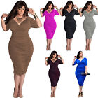 New Womens Ladies Deep-V Bodycon Plus Size Evening Cocktail Formal Party Dress