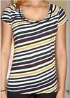 NWT Ann Taylor Striped Cap Sleeves Knit Peasant Top $40  BLACK  Multi