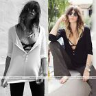 Sexy Womens Long Sleeve Casual Tops Button Down Shirt Blouses Black/White
