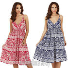 Ladies Paisley Print Strappy Sleeveless Short Summer Beach Dress Size 8 - 22