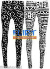 Womens Long Leggings Ladies Aztec Peace Logo Symbol Print Full Length Black 8-14