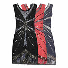 CLASSIC 20's VINTAGE INTRICATE SEQUIN FLAPPER CHARLESTON GATSBY DRESS NEW 8 - 16