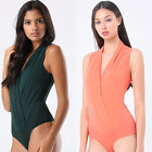 May&Maya Women's Wrap Front Sleeveless Body Bodysuit Bodice One Piece Tank Cami