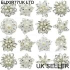 JOB LOT PEARL DIAMANTE SILVER FLOWER BROOCH WEDDING BRIDAL VINTAGE STYLE BROACH