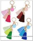 Colorful tassel fringe key chain handbag car keyring Macaron pendant alloy new
