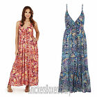 Ladies Aztec Strappy Sleeveless Maxi Summer Beach Dress Blue/Red NEW Size 8 - 22