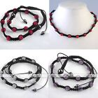 "1x Disco Ball Crystal Beads Men's Hip Hop Necklace Macrame 20-28""L Jewelry Gift"