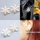 Ladies Girl Gold Silver Snowflake Metal Cuff Ear Jacket Stud Earrings Jewelry