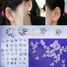 Hot 18 Pairs Mix Silver Sterling Plated Plastic Lady Ear Stud Earring HY