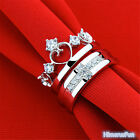 Crystal Queen Crown Cross Silver Couple Love Rings Wedding Band Promise Ring