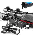 Cree XML T6 Tactical Rifle Scope Mount Light Lamp Red Dot Laser+Battery+Charger
