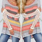 2016 Women Casual Stripe Floral Lace Long Sleeve T-Shirt Ladies Loose Blouse Top