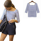 Womens Blue & White Stripe T-Shirt Summer Blouse Cotton Tee Tops