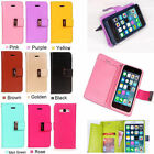 Luxury PU Leather Dual Flip  Card Holder Wallet Stand Case Cover For Cellphone