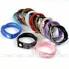 Slake Braid Crystal Rhinestone 6-Row Leather Wrap Bracelet Bangle Streamline HOT