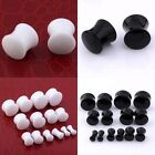 Black White Pick Acrylic Ear Plug Flared Stretcher Expander Kit Flesh Piercing