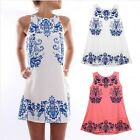 Fashion Women's Floral Print Crewneck Sleeveless Casual Short Mini Dresses LJ