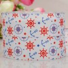 "7/8""22mm Anchor and star pattern printed grosgrain ribbon USA Independent day"
