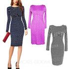 Summer Fitted Womens Office Vintage Casual Wiggle Sexy Knee Length Dress Size