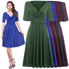 NEW WOMENS 1940'S 1950'S VINTAGE STYLE SOLID COLOR FLARED SWING LACE TEA DRESS