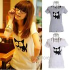 Womens Short Sleeve Cartoon Cute Cats Graphic Print T Shirt Top Tee