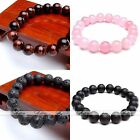 10mm Natural Quartz Stone Black Agate Round Beads Bracelet Bangle Mens Womens