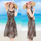 New Leopard Women's Chiffon Casual Dress Summer Boho Beach Bohemian Dress