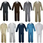 5pc Baby Toddler Boy Formal Suit Black Brown Gray Khaki Green White Taupe Sm-20