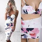 Lady Sexy Summer Slim Flower Strappy Evening Cocktail Party Floral Mini Dress UK