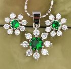 Snow Flowers Gemstones Green Emerald Silver Jewelry Sets Earrings Pendant B8450