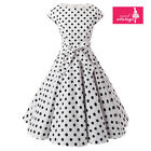 Women's White Black Polka Dot Dress Vintage Cap Sleeves 50s Rockabilly Dress