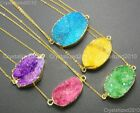 Natural Druzy Quartz Agate Charm Pendant Necklace Healing Beads 18K Gold Chain