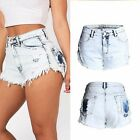 Women Vintage High Waist Fray Destroyed Tassel Sexy Hot Denim Mini Shorts Jeans