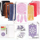 Campanula Patterned PU Leather Wallet Case Cover With Hand Strap For Cell Phones