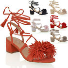 Womens Low Block Heel Fringe Strapy Ladies Lace Up Tie Sandals Shoes Size