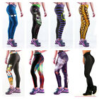 Womens YOGA Workout Gym Print Sports Pants Leggings Fitness Stretch Trouser Plus