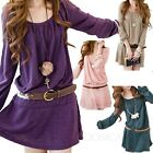 Ladies Summer long sleeve Shift Party belted Loose Top Mini Womens Dress Size S
