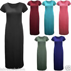 New Ladies Women Both Side Split Short Sleeve Casual Plain Long Maxi Dress