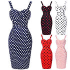 Women Vintage 50s Polka Dots Wiggle Pencil Dress Cocktail Party Housewife Dress