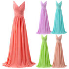 Womens 2016 Deep V Neck Bridesmaid Formal Prom Evening Party Chiffon Long Dress