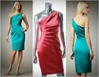 DAVID MEISTER $390 Coral One Shoulder Pleated Stretch Satin Dress Sz 10 NEW