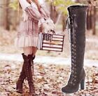 HOT!High heel shoes lace up zip ruffle trim sexy thigh high over the knee boots