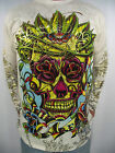 CHRISTIAN AUDIGIER ED HARDY  MENS  PLATINUM  ROSE EYE WARRIOR L/S TEE SHIRT
